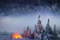 noch-nebo-zvezdy-les-sneg-zima-palatka